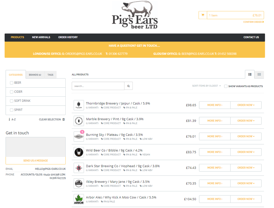 Order your Beer from Pig's Ears ONLINE!